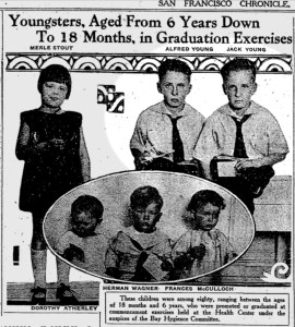 Jack Young and his twin brother Alfred, graduating from a hygeine program around age six. SF Chronicle, 18 Jun 1926.