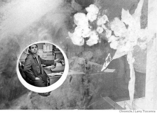1971. The hole in the bulletproof window at Ingleside station through which the gunman shot Sgt Young, pocked with gunshot. Larry Tiscornia, SF Chronicle.