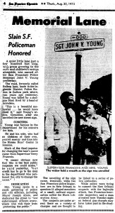 The dedication of Sgt John V Young Lane in Balboa Park, the road to the station, Bower Stadium, and the playground. SF Chronicle, 30 Aug 1973.