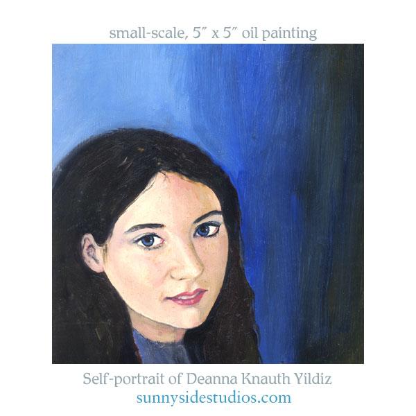 Oil painting self-portrait by Deanna C. Knauth Yildiz