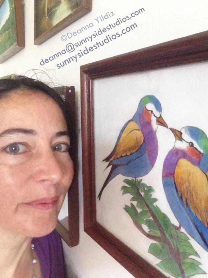 Deanna with bird art