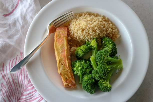 Go to meal: Mustard salmon with broccoli and cous cous