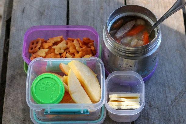 Lunch Soup, apples and dressing, Annie's snack mix, cheese slices