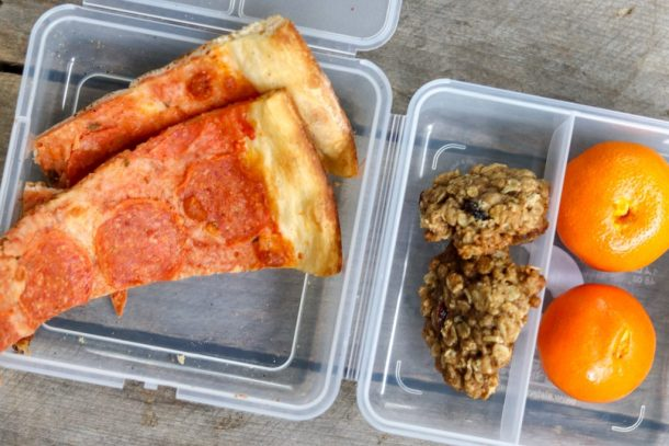 Lunch Leftover Pizza, oatmeal cookies, clemintines