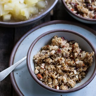Warm Apples with homemade granola