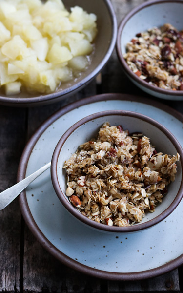 Homemade granola with warm apples