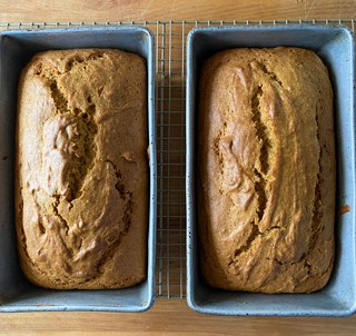 This pumpkin bread recipe makes 2 loaves.
