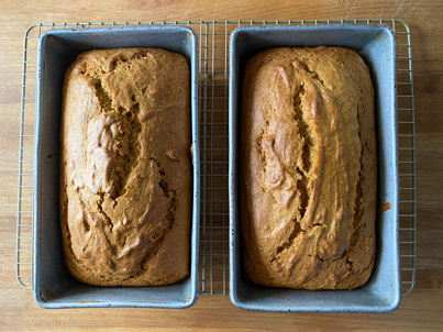 This recipe for Spiced Pumpkin Bread makes 2 loaves.