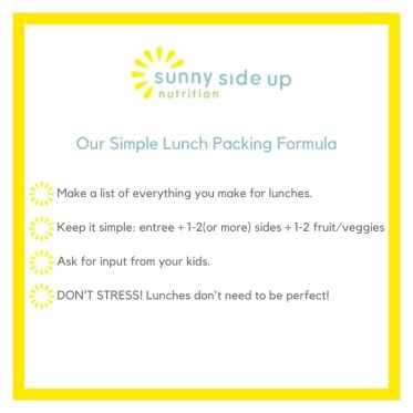 Simple lunch packing formula