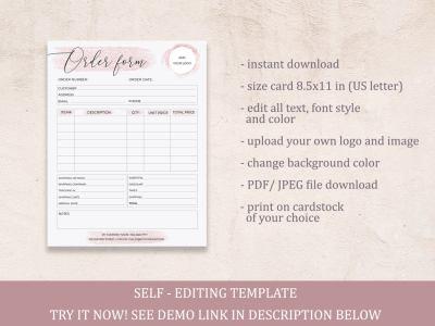 order form editable