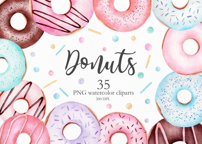 watercolor-donut