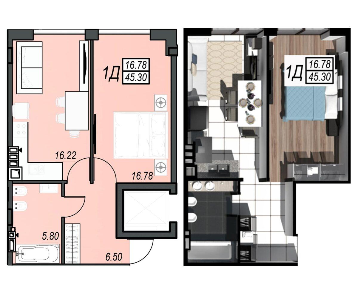 Планировка квартиры: 69
