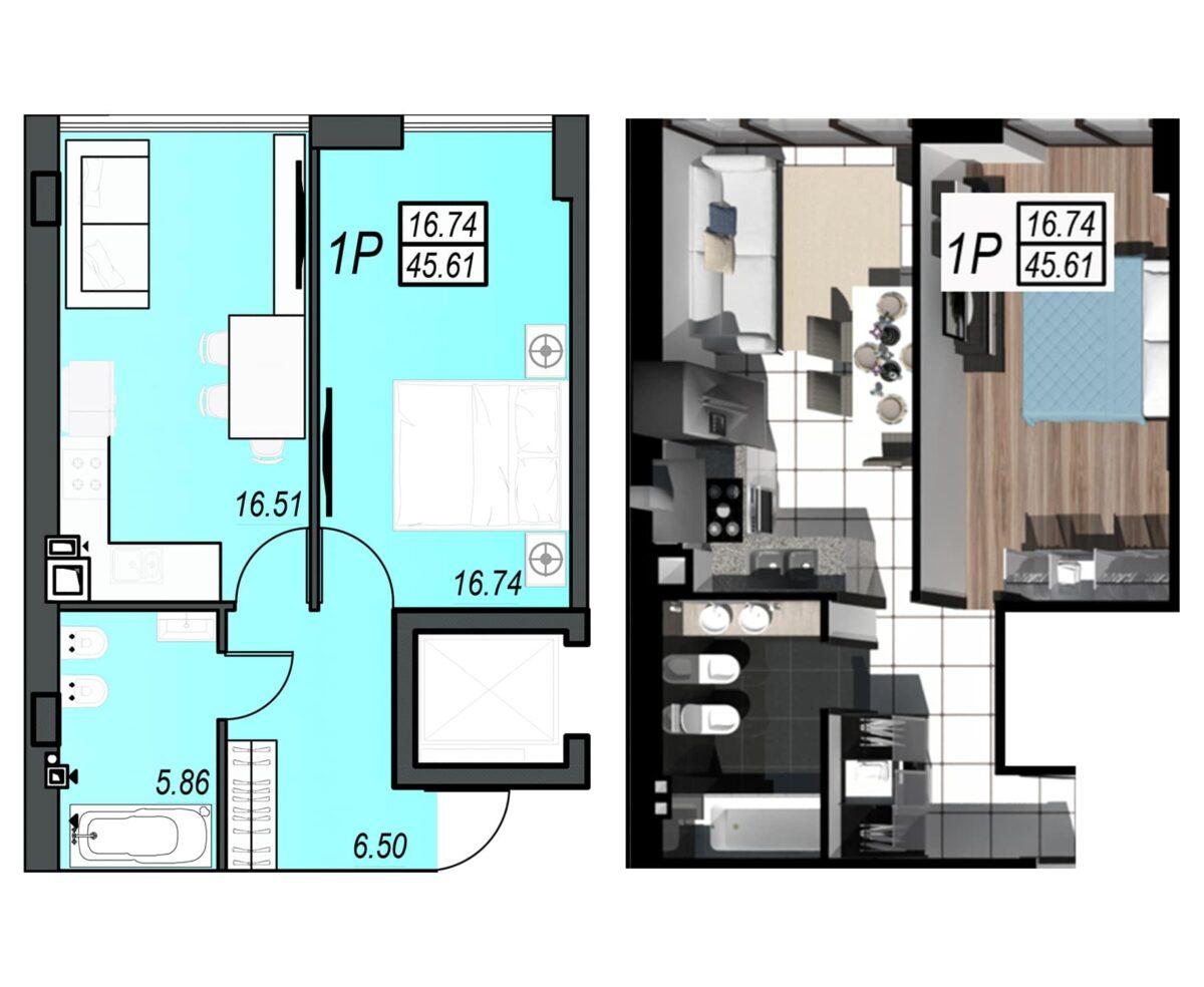 Планировка квартиры: 216