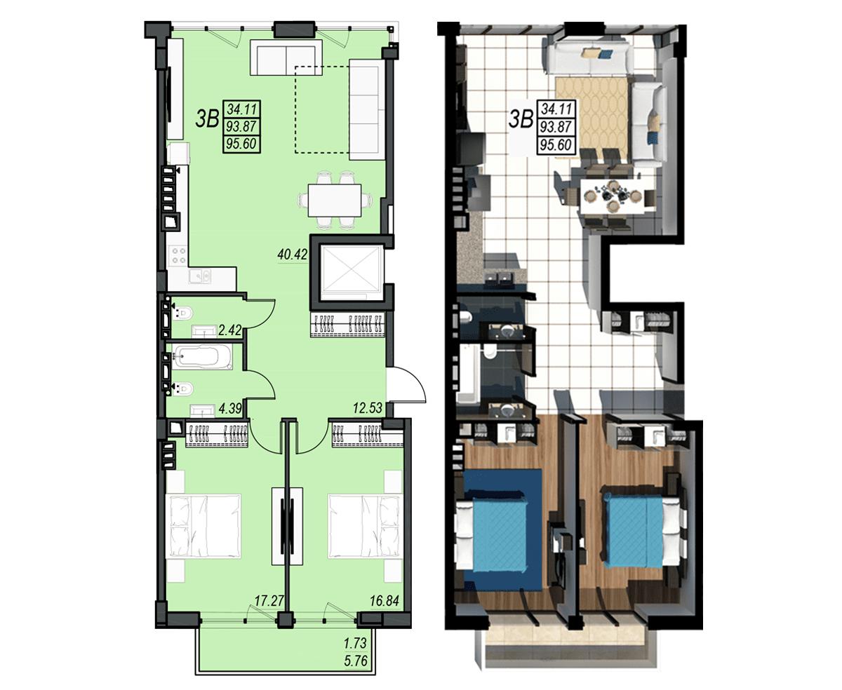 Планировка квартиры: 76А