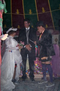 Exchanging vows at our Burning Man wedding.