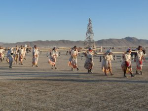 Lamplighter processional on the playa.  Everyone is welcome to participate.
