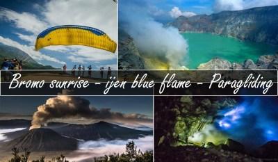 bromo sunrise ijen blue flame paragliding