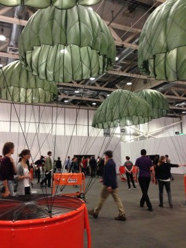 Giant parachutes/jellyfish.