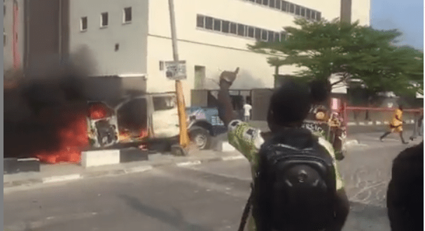 Xenophobia: One shot dead, police van sets ablaze in Lagos
