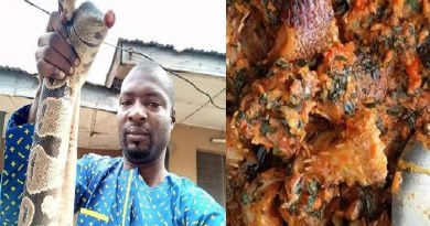 Man, Nigerian Eats A Big Snake Killed in His House (PHOTOS)
