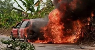 Ambulance Conveying Corpse Of Catholic Priest's Mother Catches fire (Photos)