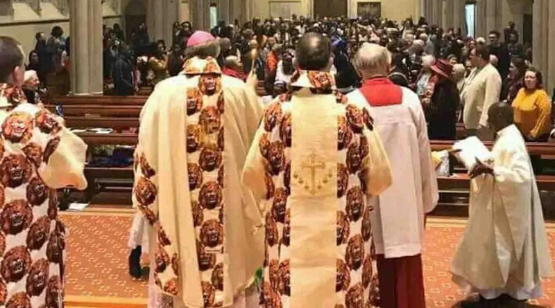 Amazing photos of British Catholic Priests hold Church service with Igbo attire in London