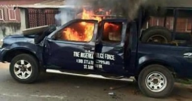 Police vehicle sets on fire by angry youths after 2 school girls were killed in Jigawa