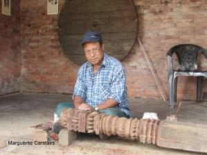 Carving pillars using original timber