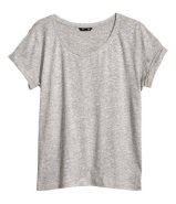 LOOSE T-SHIRTS - This: H&M Top in Slub Jersey £7.99. To keep the sun off your shoulders, and to keep you cool in heat, get loose t-shirts like this one. Try to buy the size up if possible and if it is to be worn as you main layer. If you are layering for cooler conditions buy your regular size! While these tops work wonders in medium-level activity, nylon and synthetic tops are much quicker drying and hence, much more comfy!