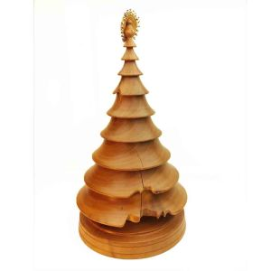 hand turned wood Christmas tree in pear wood with beaded top
