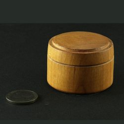 hand turned pill box in cherry