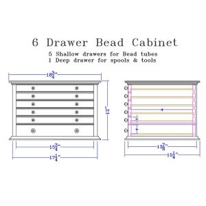 Dimensions for 2 Drawer Bead Cabinet
