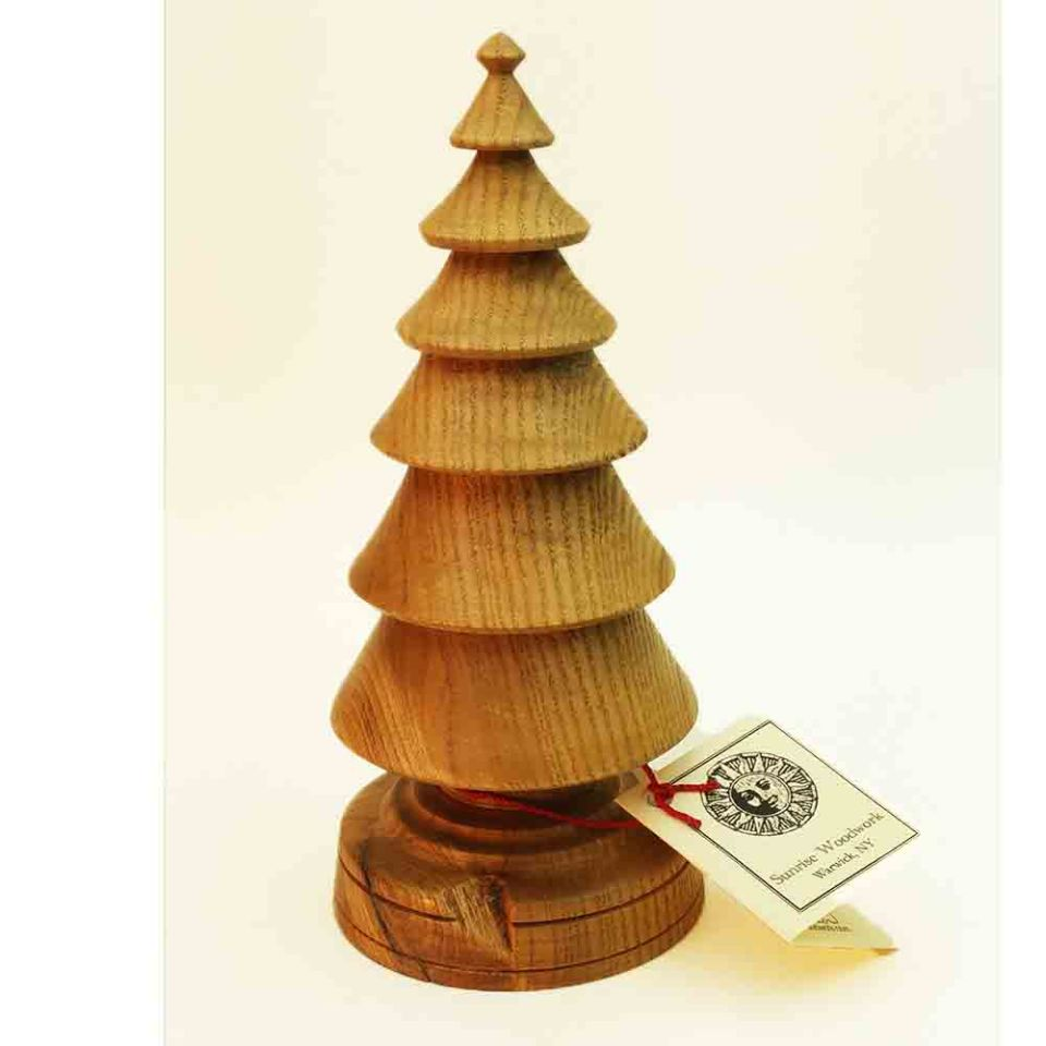 Hand Turned Wooden Christmas tree in Ash