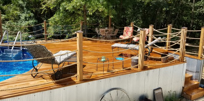 Custom deck and above ground pool