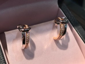 The beautiful 18ct gold and silver diamond Knot earrings