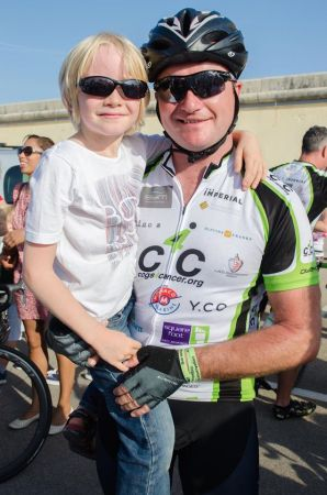 Organiser of C4C, Managing Director of Sunseeker Superyacht Management Ben Young, pictured here with very proud son Hugo after the ride