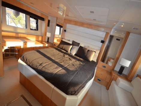 6 guests are accommodated in 3 cabins - aft Master, forward VIP and starboard Twin bunk - plus 2 crew