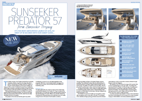 The Sunseeker Predator 57 enjoys a double page spread with a buyer's guide by Marina magazine