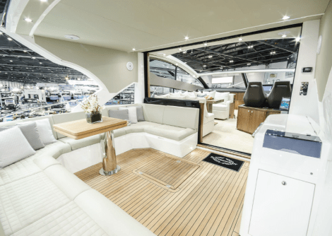 The new Sunseeker Predator 57 offers a stunning new drop down patio door design, accommodating requirements for both an open and closed cockpit vessel