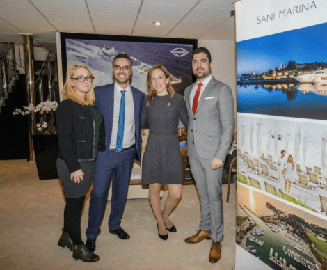 The Sunseeker VIP Lounge welcomed guests to a number of exclusive parties, Sunseeker Greece are pictured here with representatives from Sani Marina