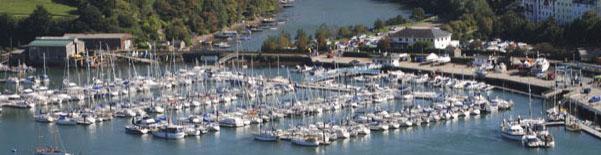 "Sunseeker Portofino 35 ""MEERU"" lifted for survey at busy Darthaven Marina"