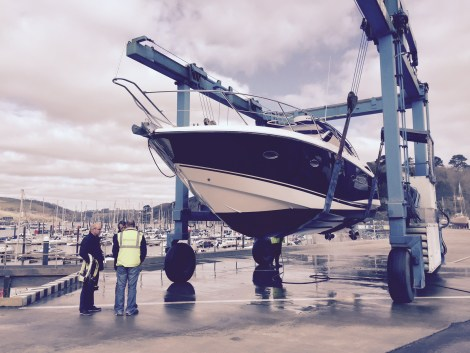 "The Sunseeker Portofino 35 ""MEERU"" is lifted at Darthaven by Sunseeker Torquay for her pre-purchase survey"