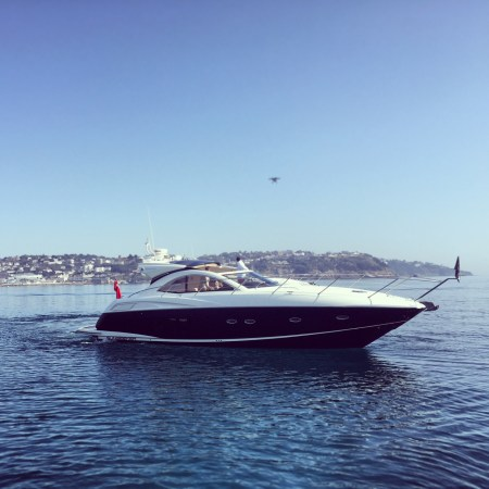 Sunseeker Torquay head around Torbay to film 3 Sunseeker yachts with drones
