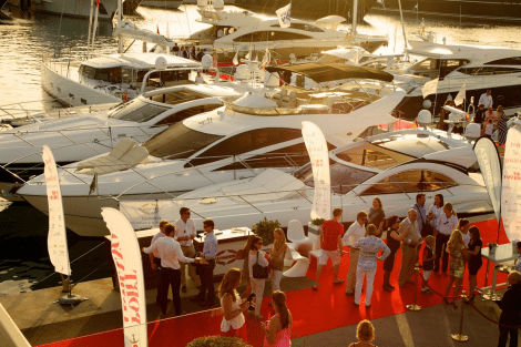 The Sunseeker display pictured at the 2015 Best of Yachting Event in Port Adriano