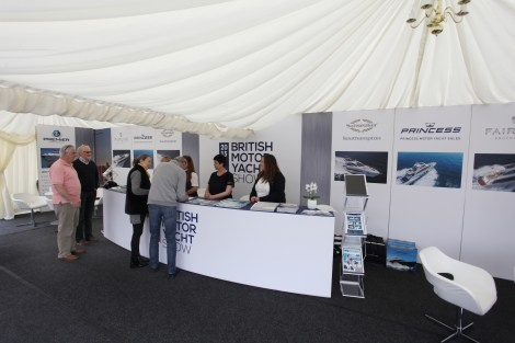Visitors arrive at the British Motor Yacht Show reception area