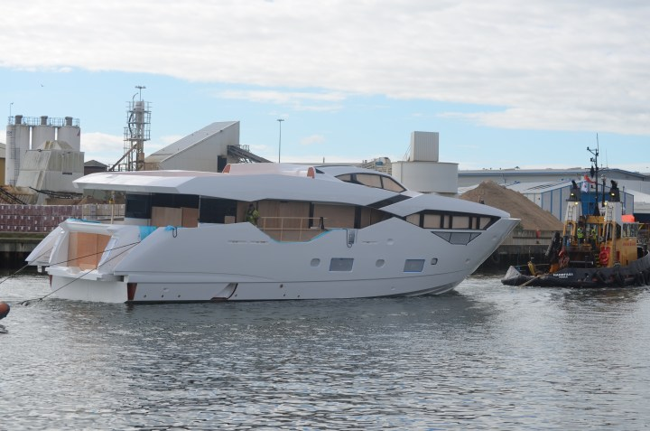 Hull no.1: NEW Sunseeker 116 Yacht at the shipyard for first stage fit out