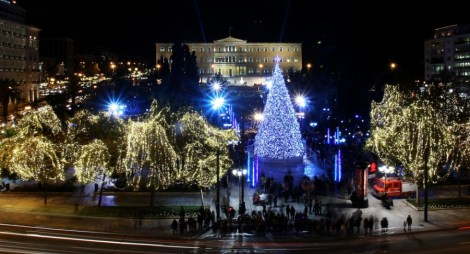 Christmas decorations at Syntagma square