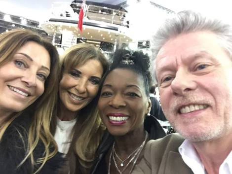 Victoria Gerlis with Alexis Lewis and charity supporters on the 1st day of the London Boat Show 2016