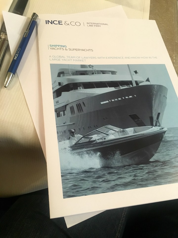 Monthly Yachting Breakfast, hosted by Ince and Co. International law firm.