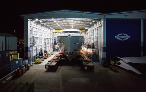 Sunseeker 155 Yacht, Hull no. 2 leaves her shipyard in Poole Quay, Dorset
